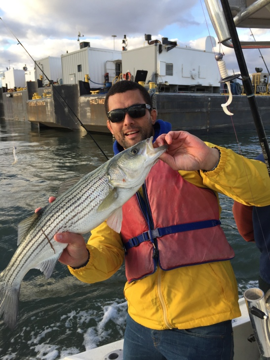 Dylan with a Striper from New York Harbour